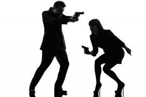 one caucasian man detective secret agent criminal  with gun  in